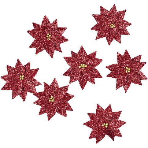 Little Birdie Christmas Glitter Poinsettia Small 7 Piece Assortment