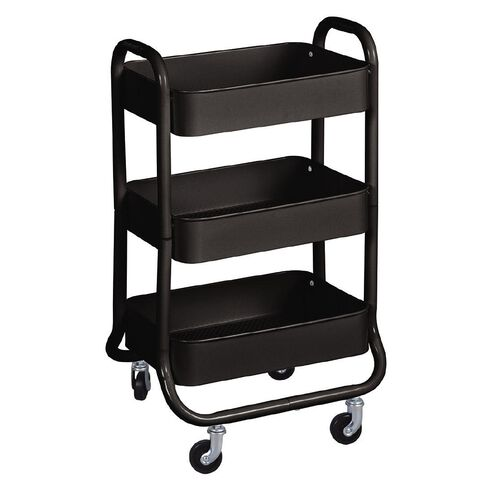 Workspace 3 Tier Trolley Black