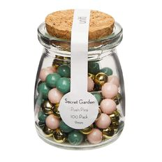 Uniti Secret Garden Push Pins In Glass Jar 100 Pack