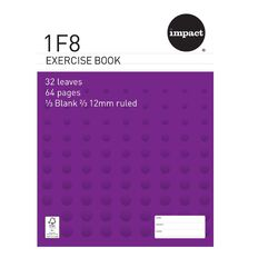 Impact Exercise Book 1F8 12mm Ruled 32 Leaf Purple