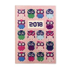 Diary 2018 Week To View Owls Hardcover Spiral Pink A5