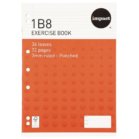 WS Exercise Book 1B8 7mm Ruled 36 Leaf Punched Red