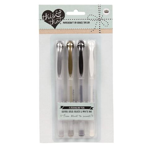 This & That Journalling Pens White/Black/Silver/Gold 4 Pack