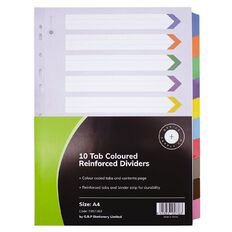 Office Supply Co 10 Tab Coloured Reinforced Dividers