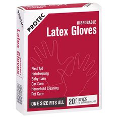 Protec Latex Gloves 20 Pack White