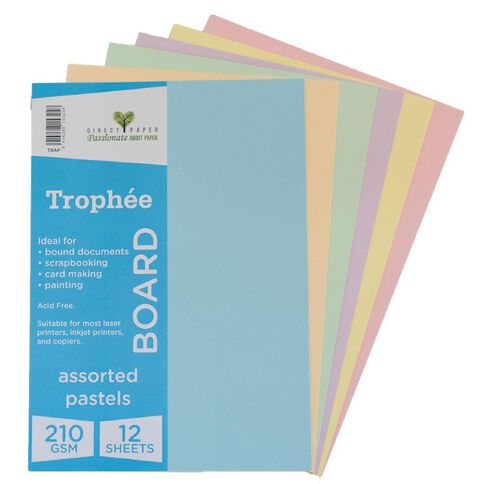 Trophee Board 210gsm 12 Pack Pastels Assorted A4