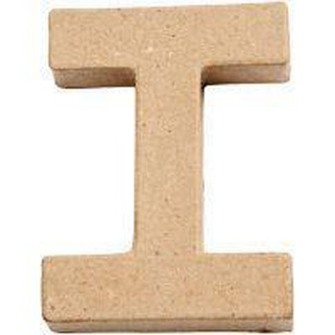 Paper Mache Alphabet Small Symbol I 10cm Brown