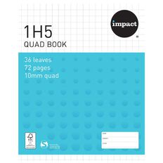 Impact Exercise Book 1H5 10mm Quad 36 Leaf Blue