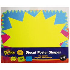 Projex Diecut Poster Board Shapes 5 Pack Multi-Coloured