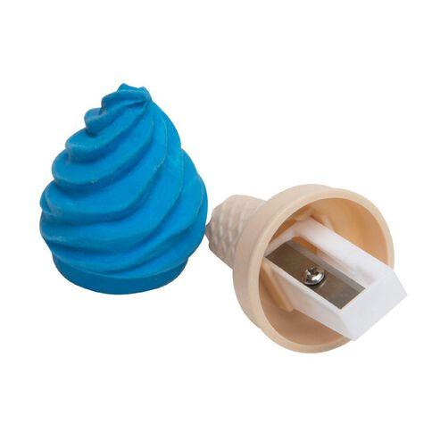 Kookie Ice Cream Sharpener With Eraser Blue