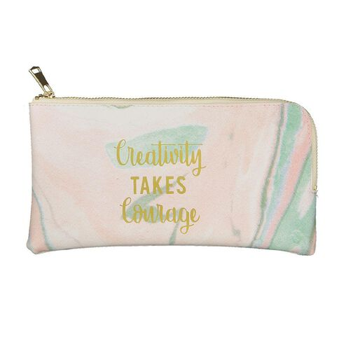 Uniti Creativity Takes Courage Leather Look Pencil Case