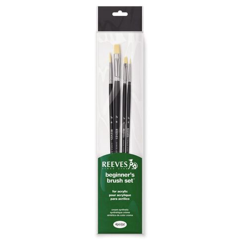 Reeves Acrylic Brush Long Handle 4 Pack