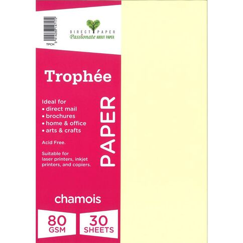 Trophee Paper 80gsm 30 Pack Chamois A4