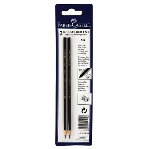 Faber-Castell Pencil Goldfaber 5B 2 Pack Black
