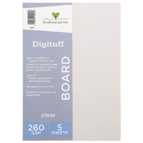 Direct Paper Digituff 260gsm 5 Pack Clear A4