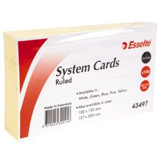Esselte System Cards Lined 76mm x 127mm 100 Pack Yellow