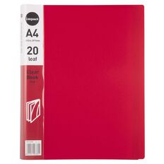 WS Clear Book 20 Leaf Red A4