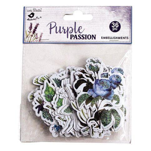 Little Birdie Embellishments Purple Passion 36 Pieces