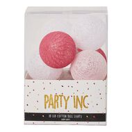 Party Inc Battery Operated Cotton Ball String Lights 10 LED Pink