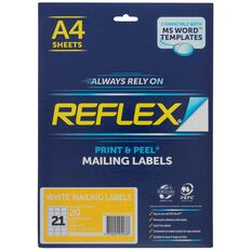 Reflex Mailing Labels 21 Per Sheet 20 Pack A4