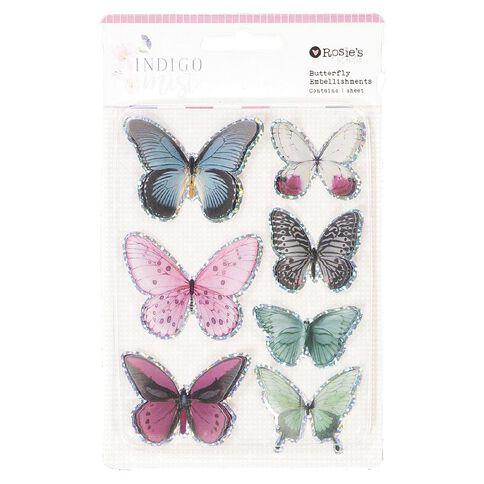 Rosie's Studio Indigo Mist Butterfly Embellishment