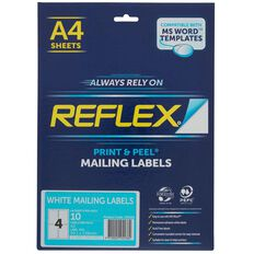 Reflex Internet Shipping Labels 4 Per Sheet 10 Pack A4