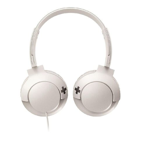 Philips On Ear Bass+ Headphones with Mic White SHL3075W