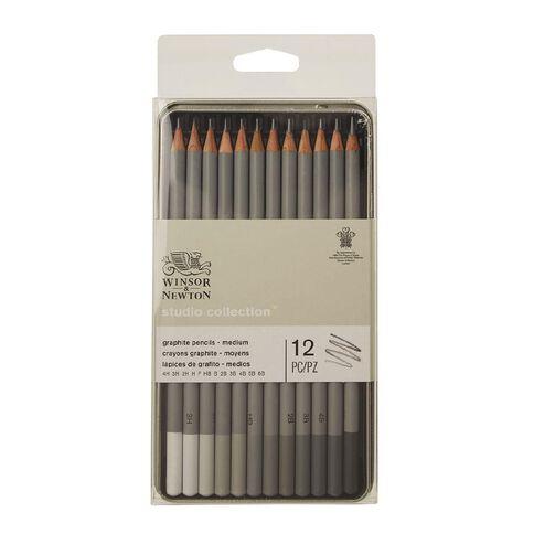 Winsor & Newton Studio Graphite Pencils Medium 12 Pack