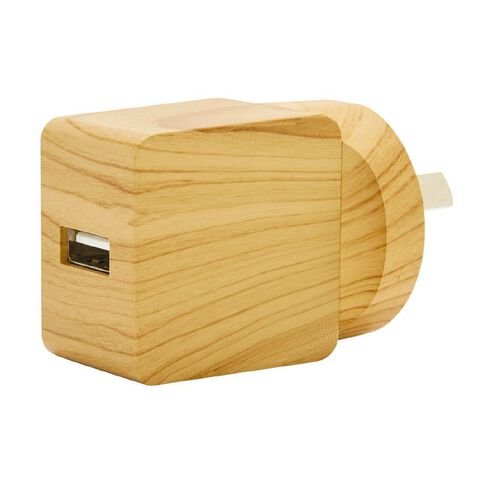 USB Wall Charger 2.4A Surfs Up Wooden