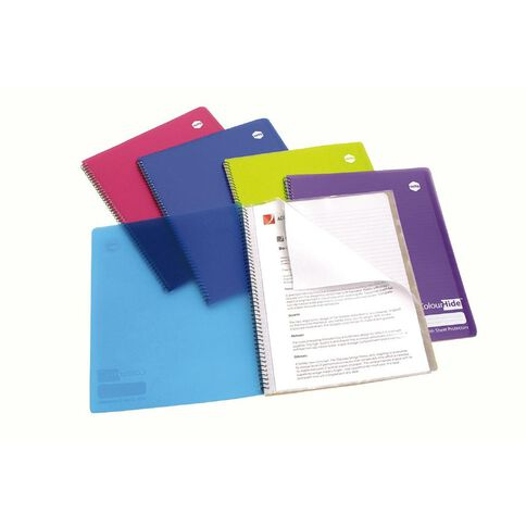 ColourHide Notebook with 4 Plastic Pockets 120 Page A4