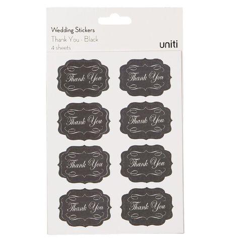 Uniti Formal Stickers Thank You Black
