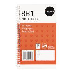 WS Note Book 8B1 7mm Ruled Spiral 50 Leaf Orange