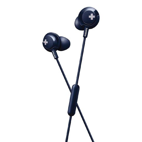 Philips In Ear Bass+ Earbuds with Mic Blue