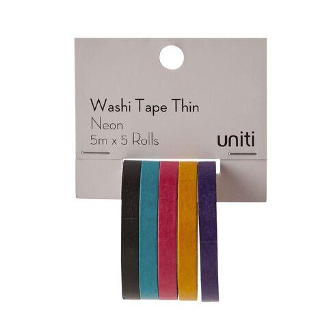 Uniti Washi Tape Thin 5 Pack Neon