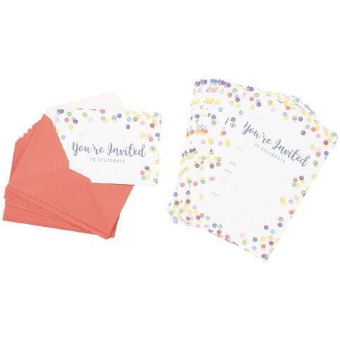 Artwrap Invitations with Envelopes Confetti Print 13.5cm x 19cm 16 Pack