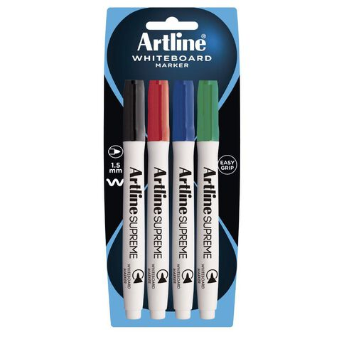 Artline Supreme Whiteboard Marker 4 Pack Multi-Coloured