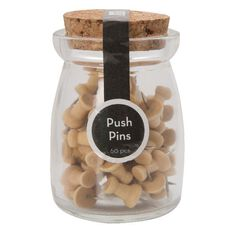 Uniti Push Pins 60 Pack Wooden Brown