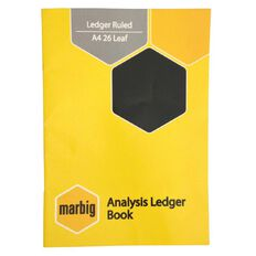 Marbig Ledger Book 26 Leaf Yellow A4