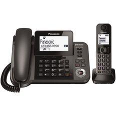 Panasonic KX-TGF380AZM Dual Corded/Cordless Handset Black Black