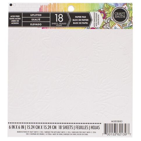 Craft Smith Colouring Paper Pad 6 x 6 Uplifted White