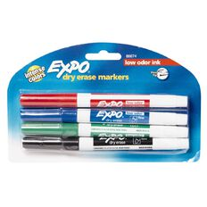 Expo Whiteboard Marker Fine Tip Assortment Multi-Coloured 4 Pack