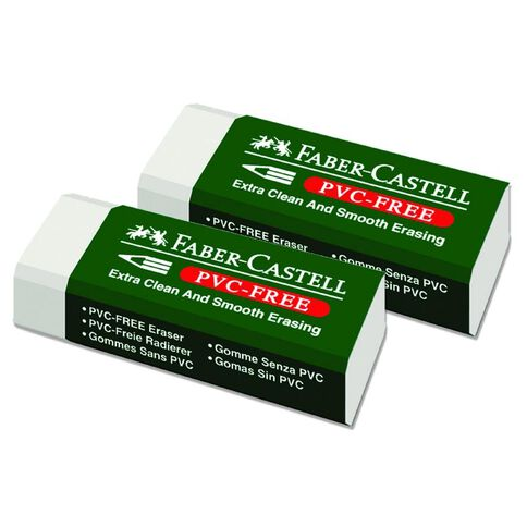 Faber-Castell Eraser 7085-20 Medium 2 Pack White