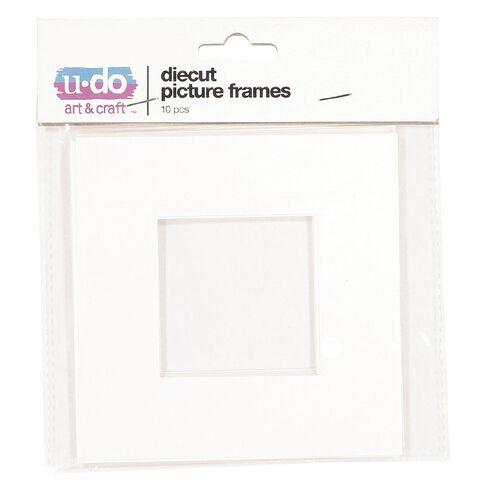 U-Do Diecut Frame 12x12cm Outer/6x6cm Inner White 10 Pack