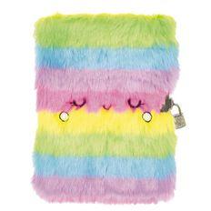 Kookie Rainbow Furry Lockable Notebook