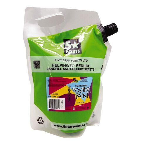 Fivestar Tempera Poster Paint Vivid Leaf Green 1.5 litre Pouch