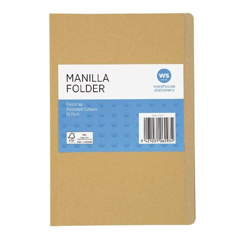 WS Manilla Folders Foolscap 12 Pack Assorted
