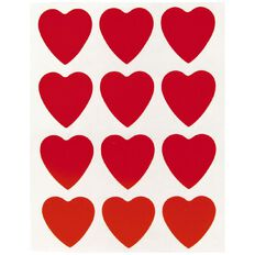 Quik Stik Labels Hearts Red
