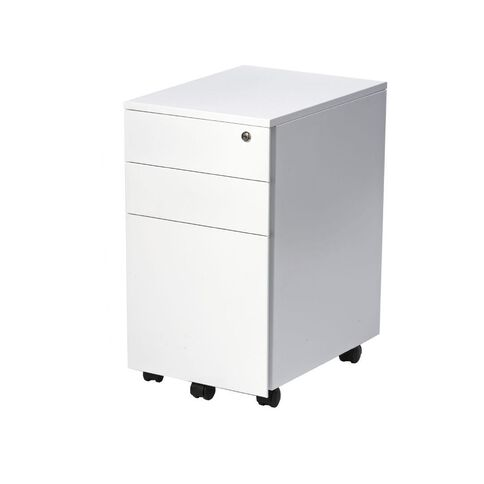 Firstline 3 Drawer Slim Metal Mobile White White
