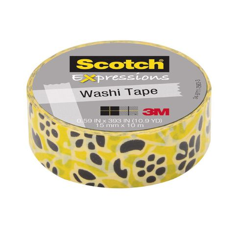 Scotch Washi Craft Tape 15mm x 10m Flowers Gold