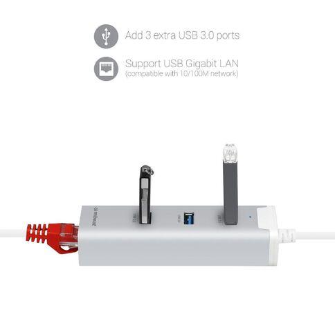 mbeat Hamilton 3 Port USB 3.0 Hub+Gigabit Lan Silver